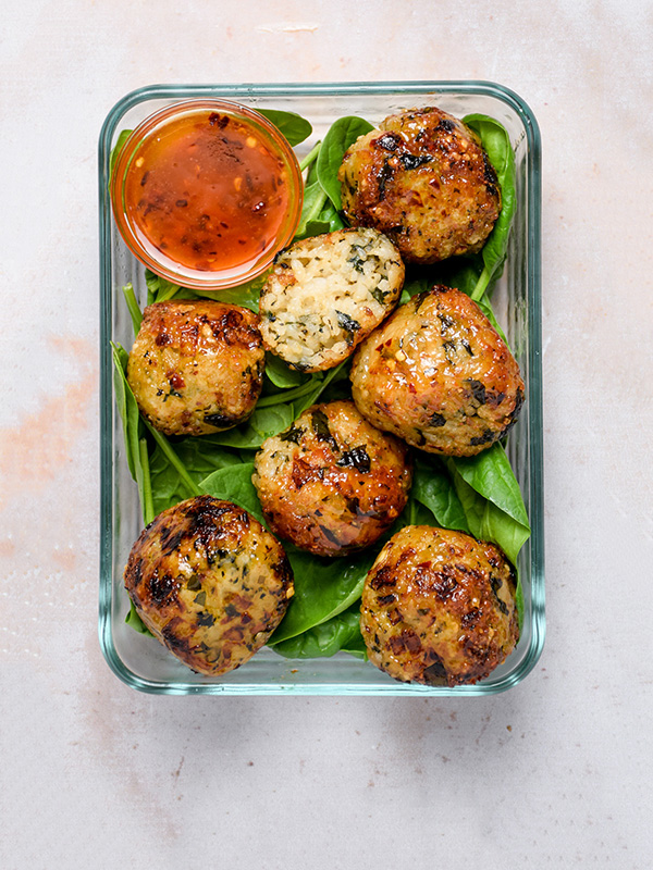 """<p style=""""padding-left: 15px; padding-right:15px"""">""""I love that you offer both vegan and non-vegan versions of the same recipe.""""</p> </br> <span style=""""font-weight: bold"""">Jeanette T.</span> <p>Brown Rice Balls with Sweet Chili Glaze</p>"""